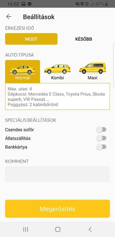 taxi applikáció